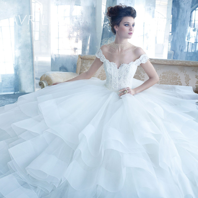 Designer Off The Shoulder Lace Organza Ball Gown Wedding Dresses