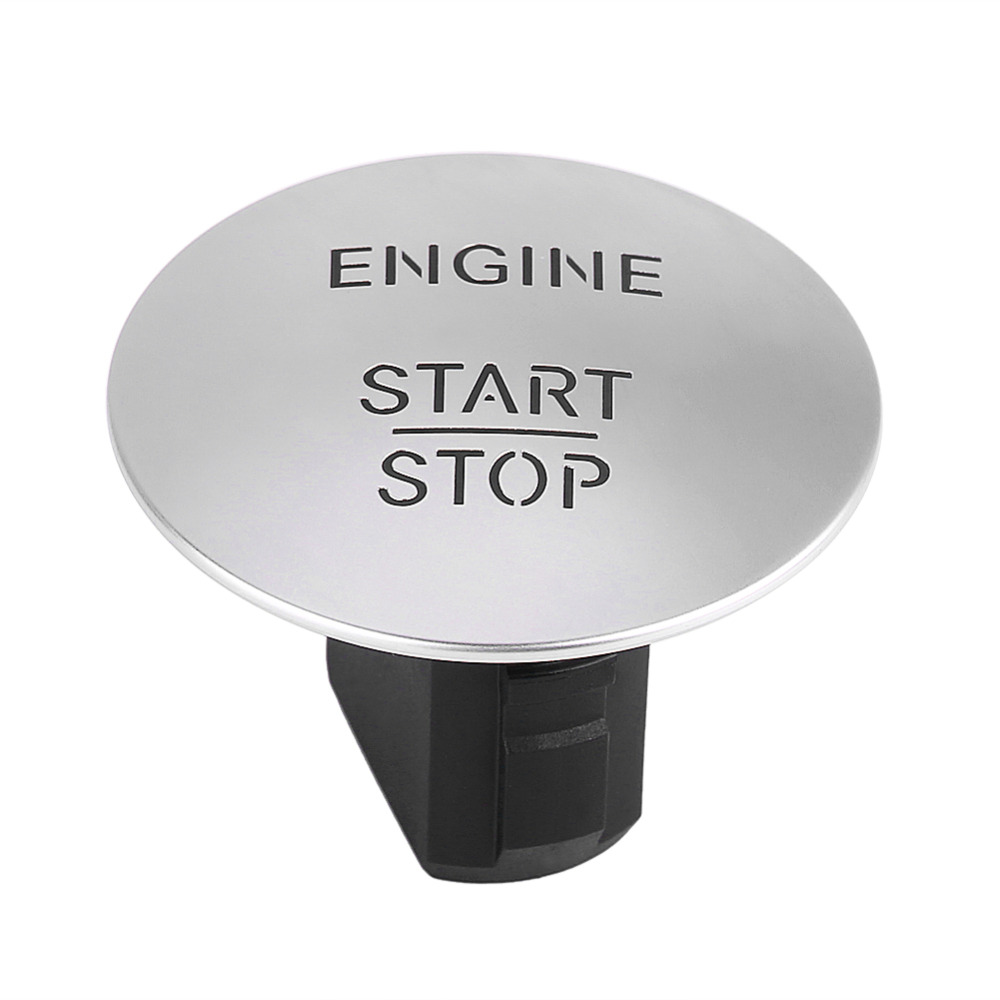 Engine Start Button Keyless Go Start Stop Push Button Engine Ignition Switch for Mercedes 2215450714 Silver