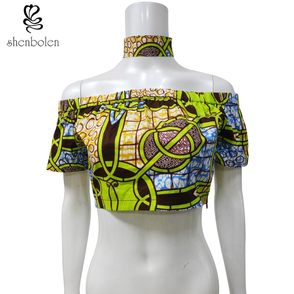 Africké oblečení pro ženy Jeden rameno Top + Choker Dashiki Short pro ženy Bavlna Super Wax Tisk Women Party oblečení