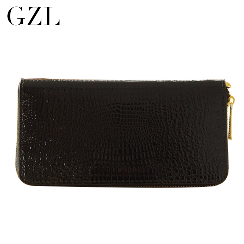 GZL Women Wallets Leather Hasp Long Casual Clutch Wallet Female Fashion Price Alligator lady Wallets High Quality Purses HB0064