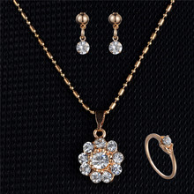 Rinhoo Delicate Sun flower Pendant Necklace Classic Fashion Engagement Jewelry Set Earring Ring Set For Women Wedding Party Gift