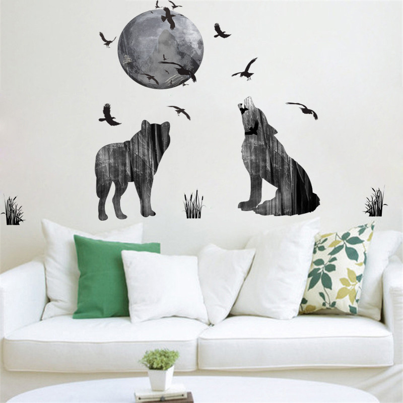 Horrifying Dark Ghost Forest Wolf Crow Wall Stickers Home Decor Living Room PVC Halloween Wall Decals Diy Mural Art Posters Gift