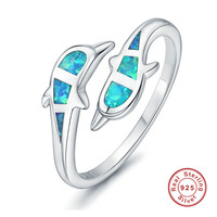 925 Sterling Silver Rings Party Vintage Jewelry Double Dolphin Blue Opal Open Cuff Adjustable Ring For