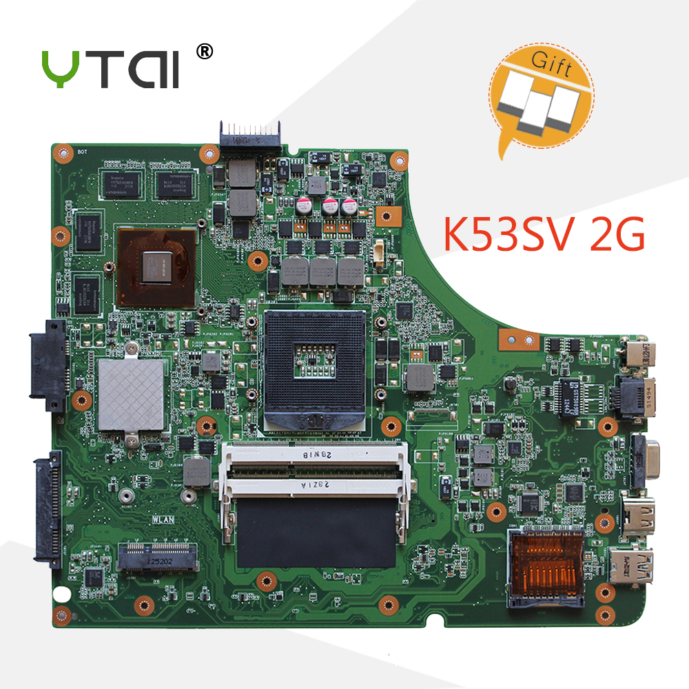 YTAI K53SV REV3.0 GT540M Mianboard For Asus K53SV A53S K53S K53SM K53SJ Laptop Motherboard REV3.0 GT540M DDR3 HM65 Mainboard for asus k53sv rev 3 1 laptop motherboard ddr3 hm65 gt520m vram1g 60 n4bmb3000 g51 mainboard