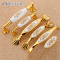 2pcs Gold Kitchen Cabinet Handle Ceramic Furniture Knobs and Handles for Cupboards Door Handle Drawer Pulls and Knobs