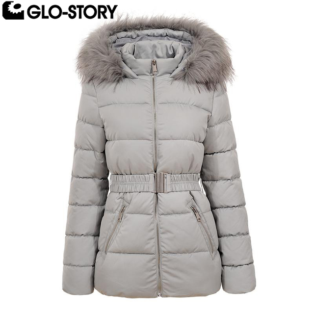 347d6d30a GLO STORY Women 2018 Mid length Winter Jackets Coat Woman Cotton ...