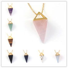 Kraft-beads Light Yellow Gold Color Square Pyramid Pendant Amethysts Necklace White Turquoises Stone Jewelry