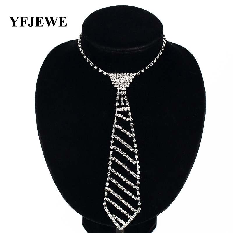 YFJEWE Fashion Jewelry Silver Color Bride rhinestone tie accessories - Fashion Jewelry