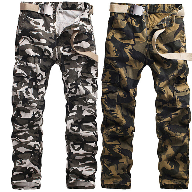 Grey Army Green Snow White Camouflage Cargo Pants Men Camo Trousers Loose Durable Cotton Multi Pocket Plus Size 40