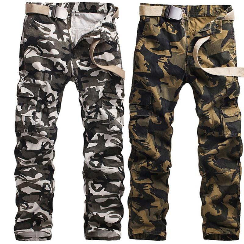 Gris armée vert neige blanc Camouflage Cargo pantalon hommes Camo pantalon lâche Durable coton Multi poche grande taille 40