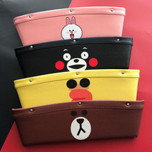 Cartoon LINE Character Car Seat Gap Leather Storage Pocket