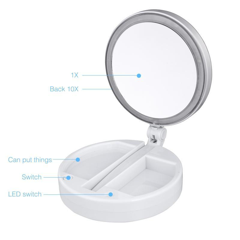 New My Fold Away LED Makeup Mirror Double-sided Rotation Folding USB Lighted Vanity Mirror Touch Screen Portable Tabletop Lamp