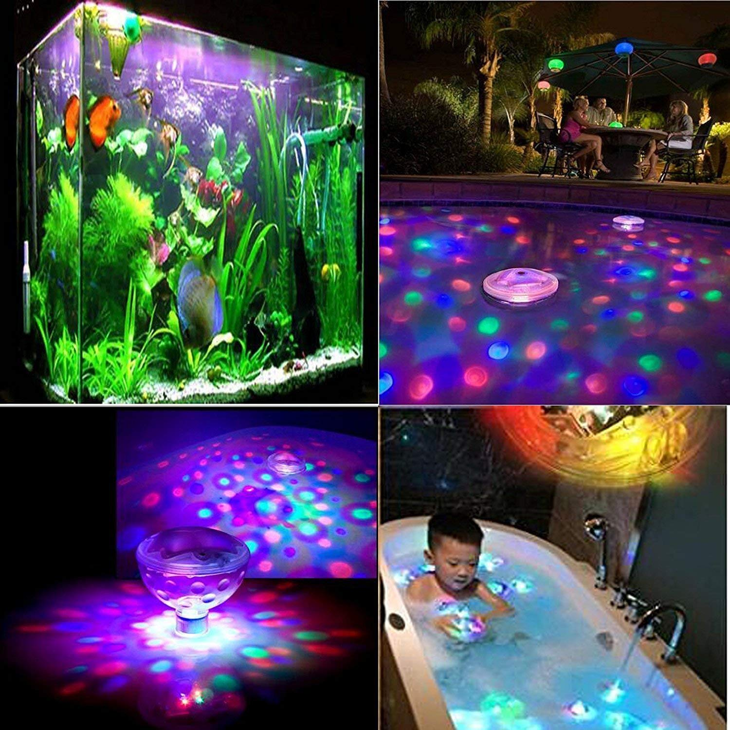 2PC Underwater Light Colorful Decoration Lamp LED Kids Toys Bathroom Ball Bulbs Spa Glow Swimming Pool Pond Baby Floating Children Bath Tub