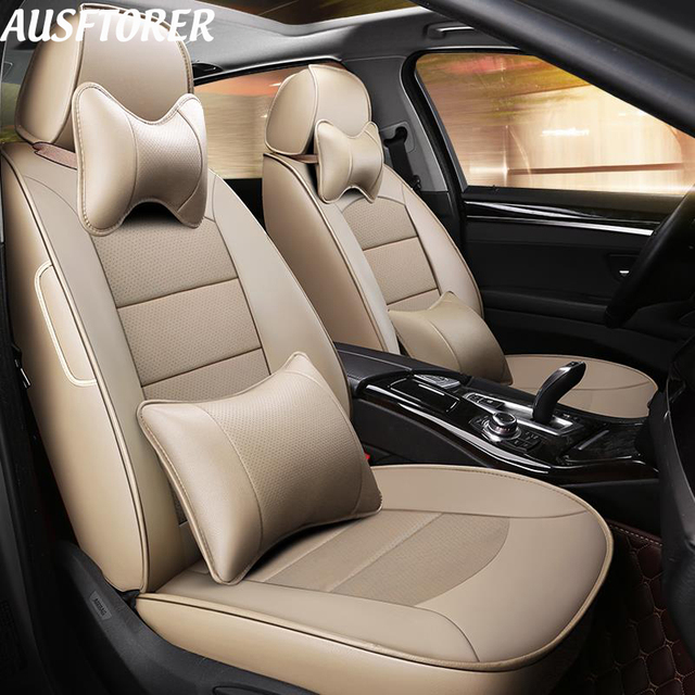 AUSFTORER Custom Automobiles Seat Covers for Mitsubishi Pajero Car Seat Cover Set Cowhide Leather 5 & 7 Seat Support Accessories