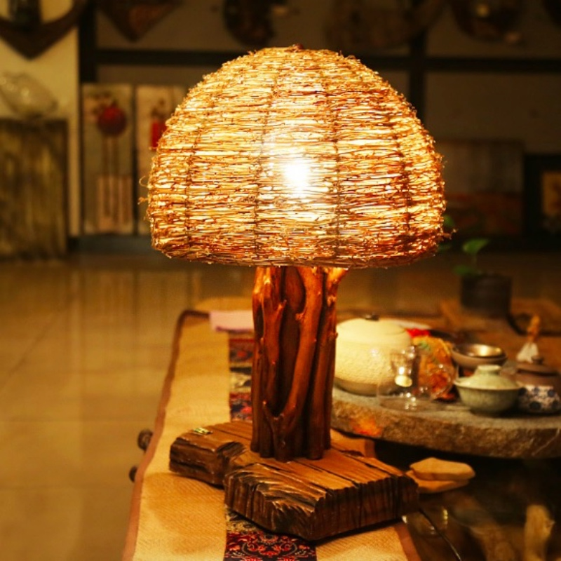 Vintage Retro Country Exotic Thailand Wiker Wood Table Lamp for Living room Bar Restaurant Deco H 55cm E27 80-265V 1781
