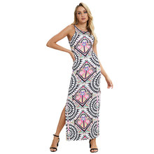 New Fashion spring summer women V-Neck sleeveless Indie-folk style print casual Split Hem Ankle-length sheath dress