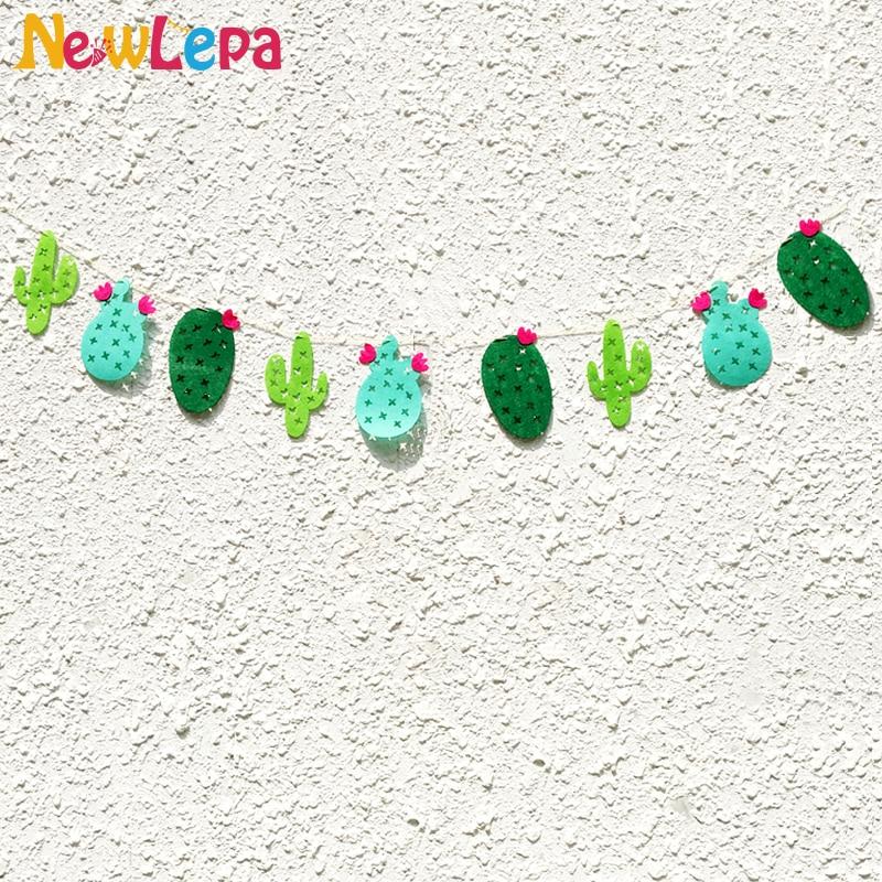 Lõbus roheline troopiline mittekootud kangad Cactus Garland Bänner - Pühad ja peod - Foto 1