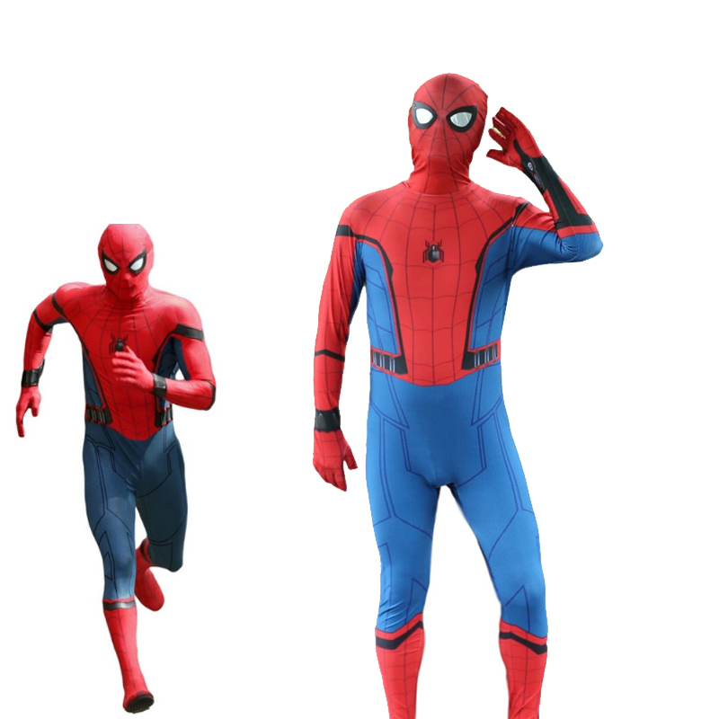 2017 New Movie SpiderMan Homecoming Cosplay Costume 3D Printed Superhero Jumpsuit Halloween Carnival Red Zentai For Adult