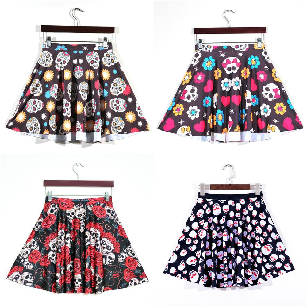 Halloween Large Size Fashionable Pleated Skirt Digital Rose Skeleton Head Print Femme Short Mini Skirt Modern Ladies Skirts 4XL