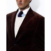 Мужской пиджак, вельветовые индивидуальный заказ Повседневное Вельветовая куртка, Slim Fit темно коричневые теплые вельветовые пальто для осе