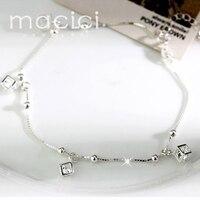 Chain Foot Bracelets AAA Cubic Zirconia Cube Charms 925 Sterling Silver Women Ankle Leg Bracelets With