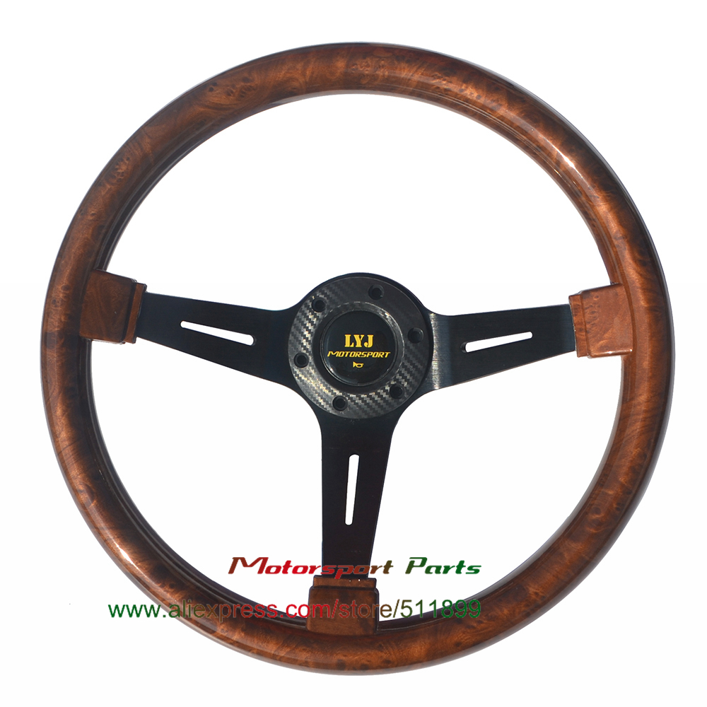 Wood Look Car Steering Wheel 350mm Racing Steering Wheel Deep Dish Brown Color Game Steering Wheel image