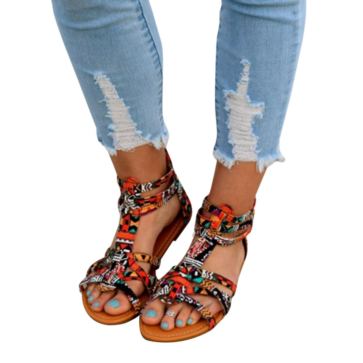 2a26cc09ea Plus Size 34 43 Ethnic Bohemian Summer Woman Pompon Sandals Gladiator Roman  Strappy Embroidered Shoes Women Flat Sandals-in Women's Sandals from Shoes  ...