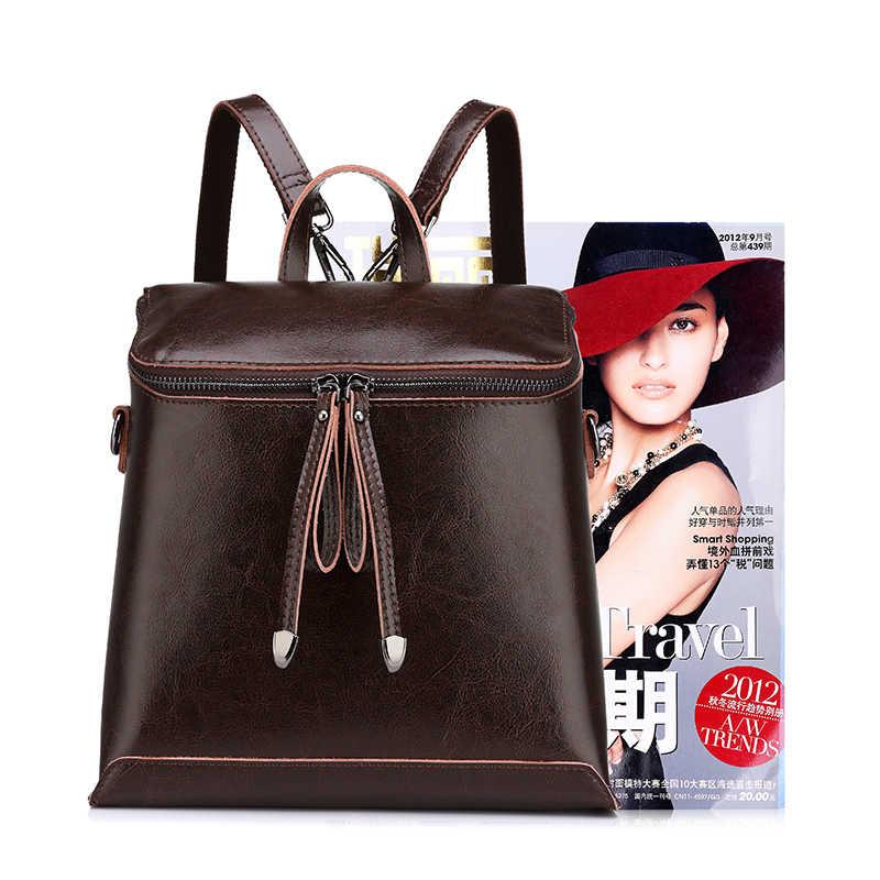 REALER marka kadın sırt çantası vintage yağ wax inek bölünmüş deri sırt çantası kadın okul gençler için çanta kızlar omuzdan askili çanta