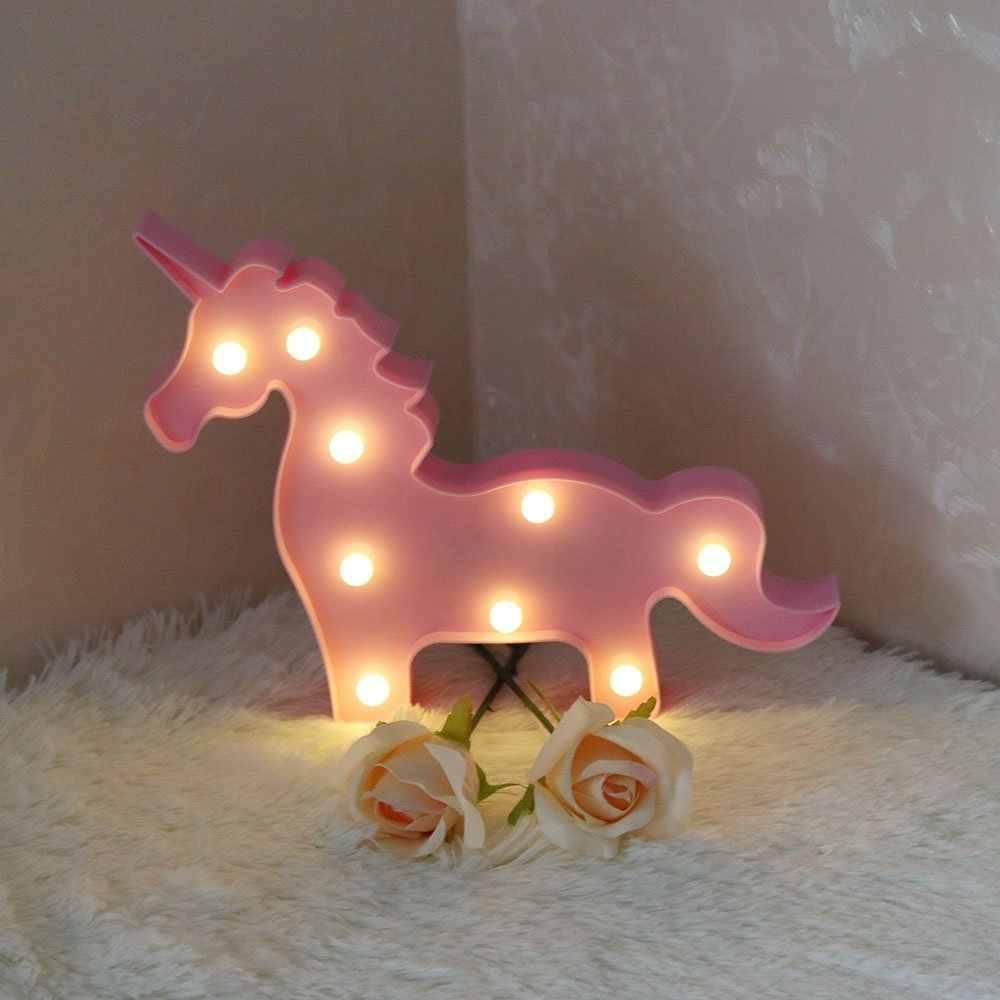 Unicornio LED veilleuse bébé licorne fête lampe Luminaria 3D RGB coloré lampe Animal enfants cadeau chambre Table décoration