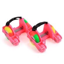 1 пара детские роликовые коньки 4 пожарные колеса маленький мотор вспышка обувь Роликовые портативные для детей мальчик и девочка