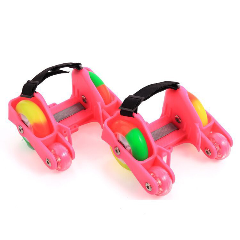 1 Pair Children Roller Shoes Skates 4 Fire Wheels Small Motor Flash Shoes Roller Portable For Kids Boy And Girl