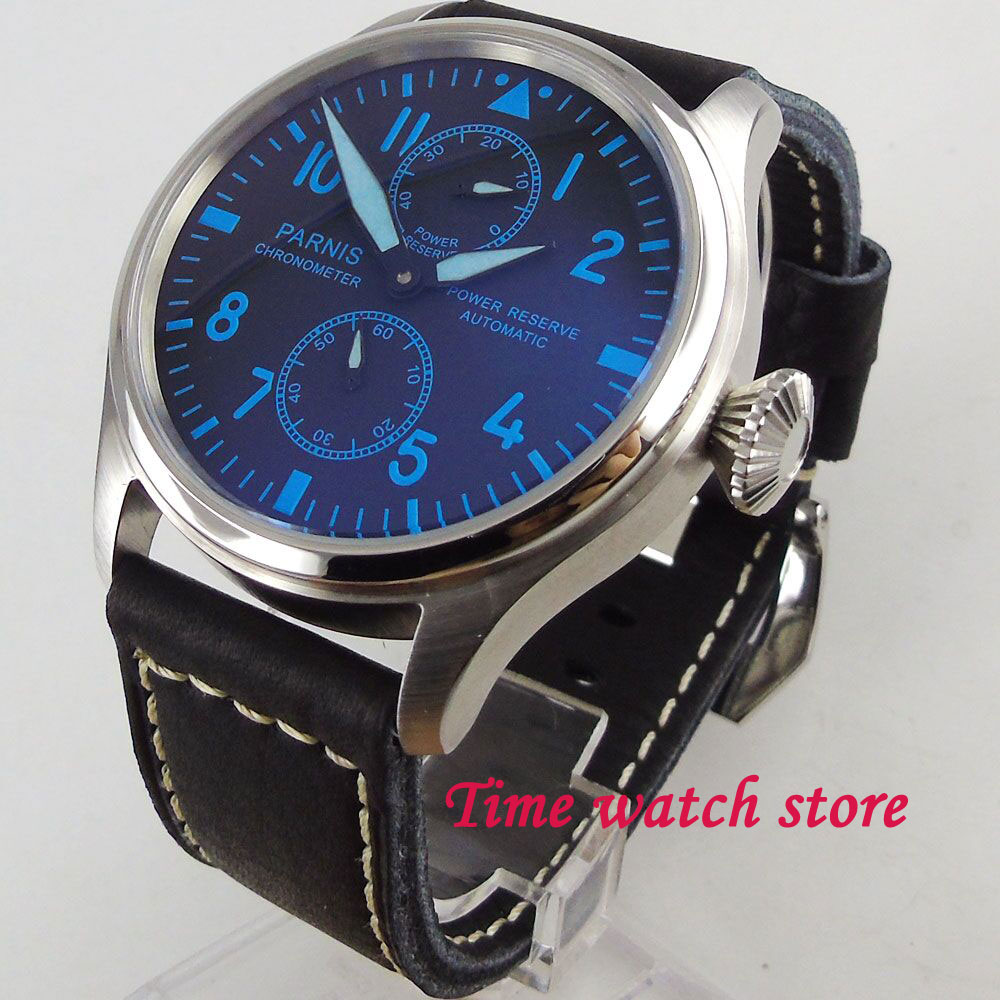 47mm Parnis men's watch power reserve black dial blue marks luminous ST2542 Automatic movement wrist watch men 1196 hot sale 46mm parnis black dial power reserve white marks automatic men wrist watch page 5