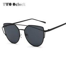 TWO Oclock Luxury Sunglasses Women Brand Designer Retro Oversize Cateye Sun Glasses Female Mirrored Sunglases font