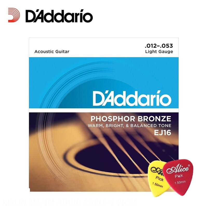 D'Addario EJ16 Phosphor Bronze Light Acoustic Strings .012-.053 Daddario Guitar Strings (With 2pcs picks) d addario daddario exl110 american made nickel wound electric guitar strings regular light 10 46