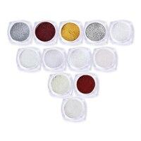 Moda 12 Colori 12 Pz Magic Mirror Nails Polvere Set con 12 Spazzole Chrome Effetto di Arte Del Chiodo di Scintillio Decorazioni per chiodi