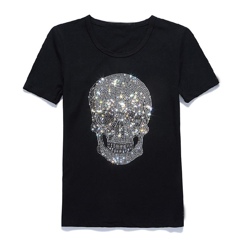 New Women Shinning Skull Hot Drilling T Shirt Black Cotton Short Sleeve High Quality Rhinestone Print Skull T Shirt Top Tees