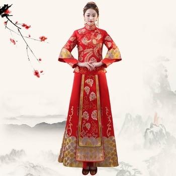 Oriental Lady Toast Qipao Phoenix SuZhou Embroidery Cheongsam Set Vintage Marriage Clothings Chinese Classic  Bride Dress