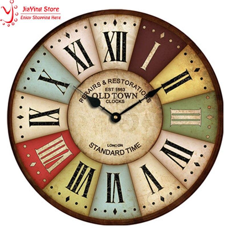 Antique Country Style Vintage Wood Wall Clock Roman Numerals Quartz Oversized Wall Clocks <font><b>Home</b></font> <font><b>Decor</b></font> Shabby Chic <font><b>Rustic</b></font> Watch
