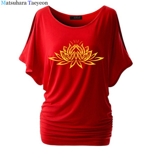 Image 3 - Beautiful Lotus Women Cotton T Shirts Fashion  Print Summer T Shirt All Match O Neck Short Sleeve Casual T Shirts Base Tees