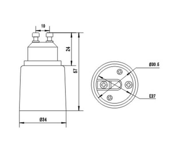 GU10 к E27 лампа Базовый адаптер, лампа база конвертер, с Gu10 база, E27 держатель, CE Rohs