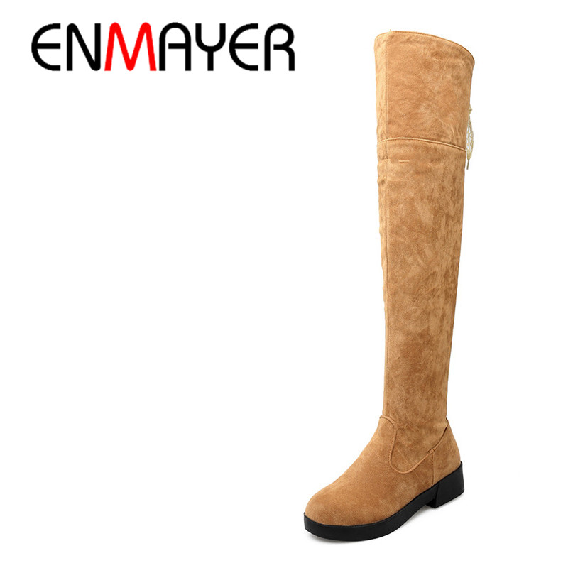 ENMAYER Winter Long Boots Shoes Woman High Heels Round Toe Lace Charms Large Size 34-43 Over-the-knee Boots Platform White Shoes sm size 34 43 2 style lace fall winter boots solid over the knee boots fashion 2016 thick platform high heels winter shoes woman