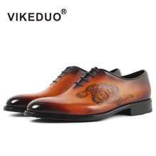 Vikeduo Vintage Handmade Patined Genuine Leather Shoe Lace Up Wedding Dress Office Party Original Design Mens Oxford Shoes