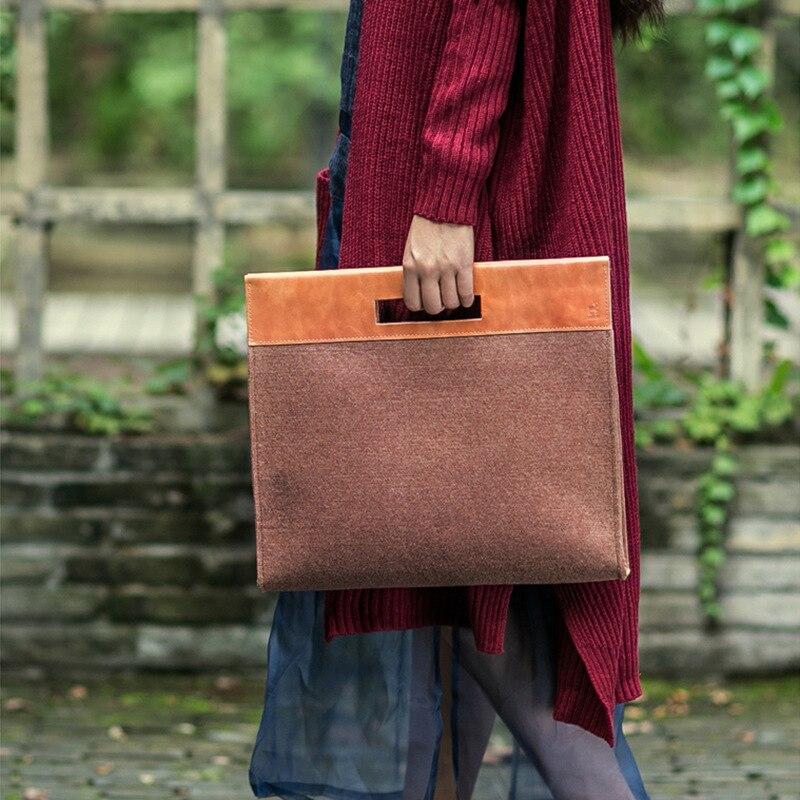 2017 New Fashion Brand A4 Handbags Women Bags Ladys Hand Purse Girls Briefcase Clutch Bag Felt Casual Totes Bags for Women