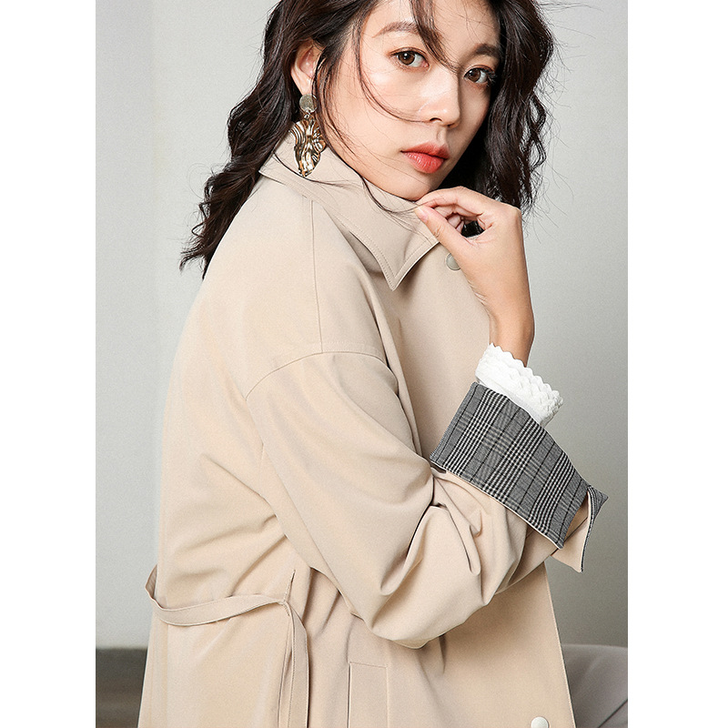 Khaki Trench Coat Korean Duster Windbreaker British Plaid High Quality Long Coat Fashion Women sobretudo feminino plaszcze Fall