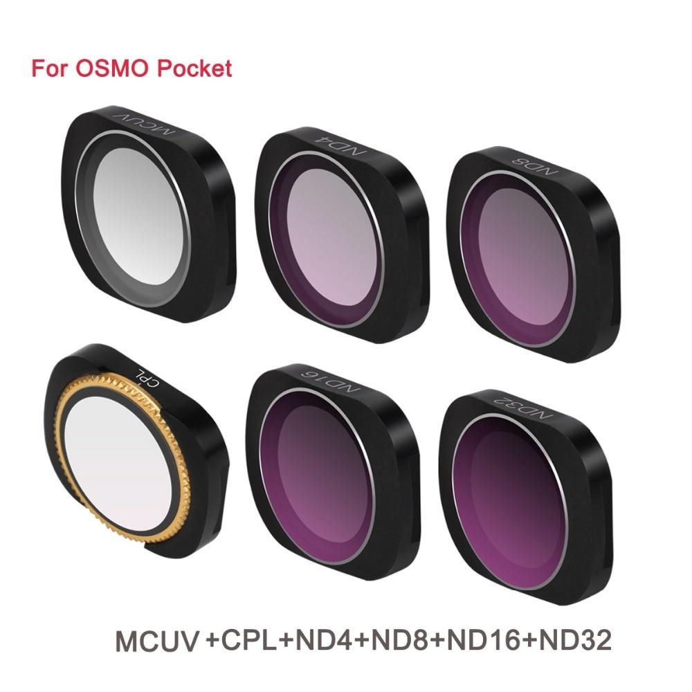 6 piezas de aleación de aluminio de adsorción magnética de MCUV CPL ND 8 4 16 32 64 lente filtro DJI OSMO bolsillo estabilizador de cámara