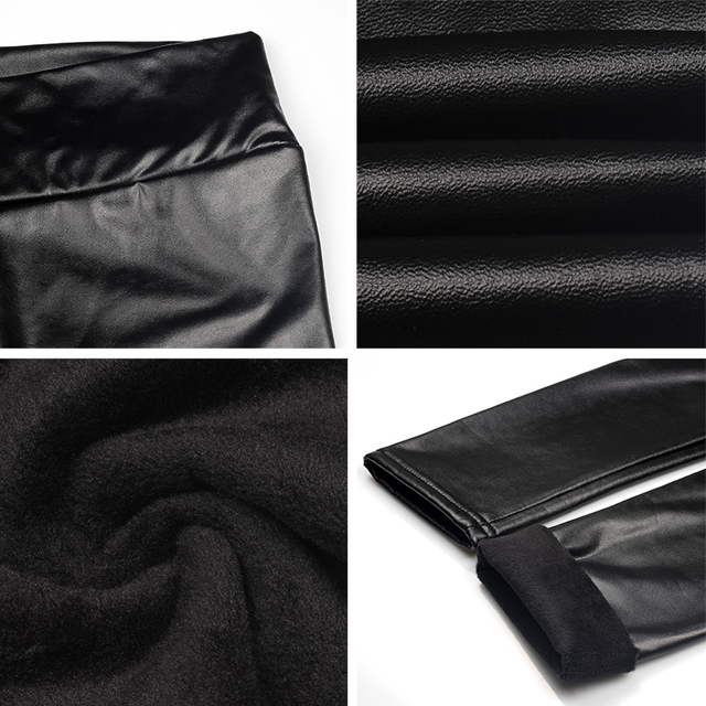 Mock Leather High Waist Thick Stretch Pants