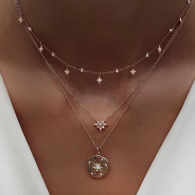 Богемное многослойное ожерелье с кулоном из кристаллов для женщин, золотые модные многослойные ожерелья и кулоны, ювелирные изделия - Окраска металла: NE-0205-22