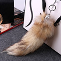 New Top Quality Fox Tail Keychain Fox Fur Keychain Hot Large Wolf Tail Fur Tassel Bag Tag Black And Brown Keychain Strap Chain