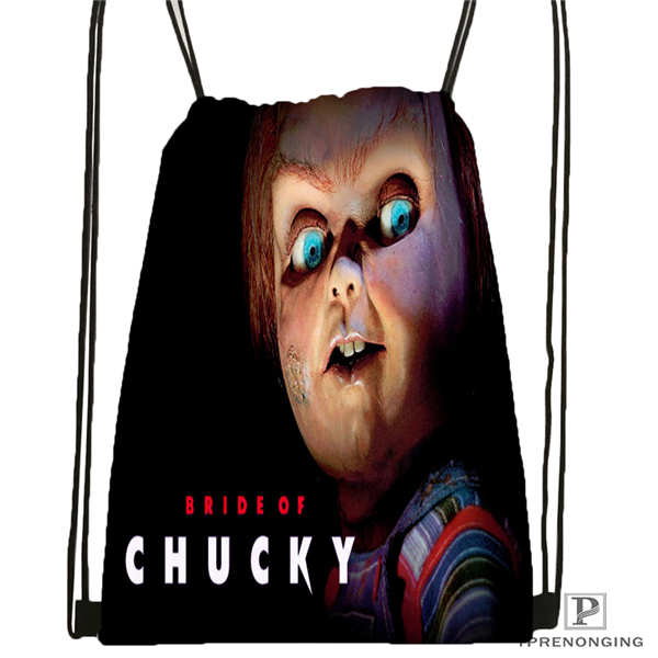 Custom Kcurse_of_chucky   Drawstring Backpack Bag Cute Daypack Kids Satchel (Black Back) 31x40cm#20180611-02-67