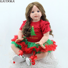цены KAYDORA Realistic 24inch/60cm Bebe Alive Doll Cute Soft Silicone Reborn Kids Toddler Dolls Toy With Dress Bebe Reborn Lifelike